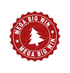 mega big win grunge stamp seal with fir-tree vector image