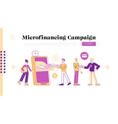 micro credit finance organization service landing vector image