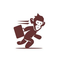 monkey run hold suitcase logo design isolated vector image