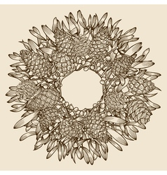 Monochrome Christmas wreath vector