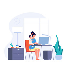 Mother freelance worker female working home and vector