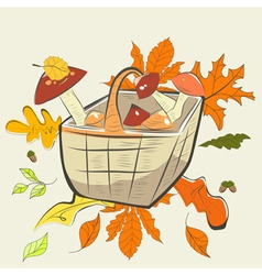 mushrooms in basket with autumn leaves vector image