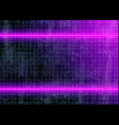Neon lights and grid lines on dirty wall vector
