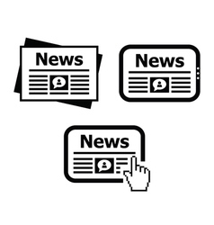 Newpaper news on tablet icons set vector
