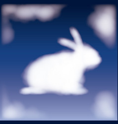 nightly background with cloud in shape of bunny in vector image