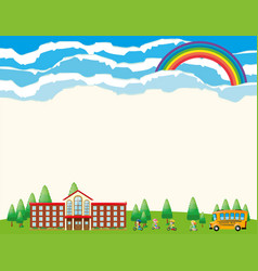 Paper template with school at daytime vector