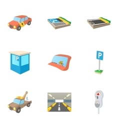 Parking icons set cartoon style vector image