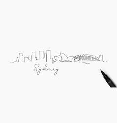 pen line silhouette sydney vector image