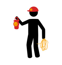pictogram silhouette with miner with flashlight vector image