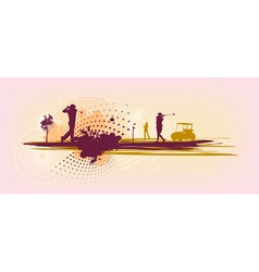 Pink Golf Silhouettes vector