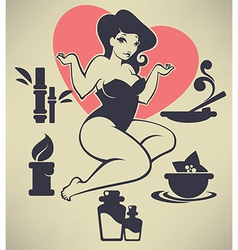 pinup girl and spa vector image