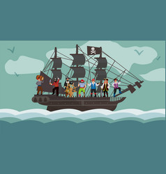pirate ship team trip on boat flat vector image