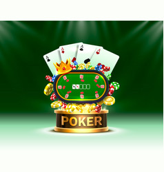 poker chips and cards casino banner isolated on vector image