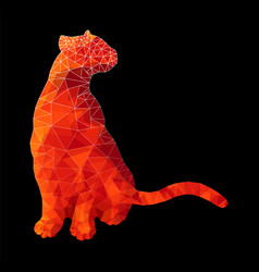 poly animal cat sitting in red rubypolygonal vector image