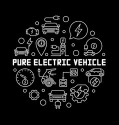 Pure electric vehicle round outline vector