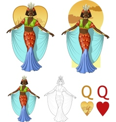 Queen of hearts afroamerican actress Mafia card vector image