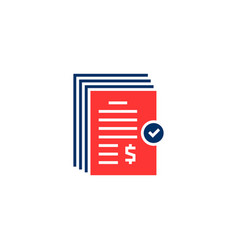 Red and blue pile invoice bill logo vector