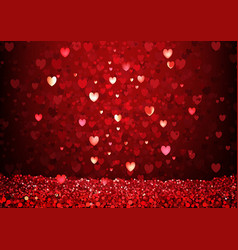 red glittering hearts background vector image