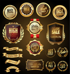 retro golden badge collection 4 vector image