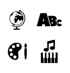 school subject education simple related icons vector image