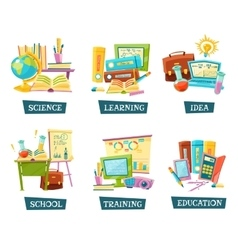 School Training Education Objects Set vector