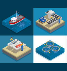 Seafood production design concept vector