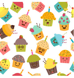 Seamless pattern with cupcakes and muffins cute vector
