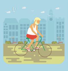 Senior man cycling vector