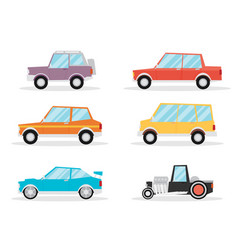 Set of cartoon cars flat vector