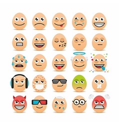 Set of Easter eggs emoticons vector image