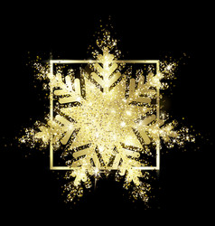 shiny gold glitter snowflake sparks vector image