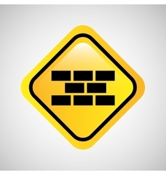 sign bricks construction yellow icon vector image