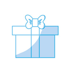 Silhouette box of present gift with ribbon design vector
