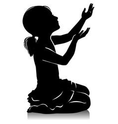 Silhouette of little beautiful girl prayer vector