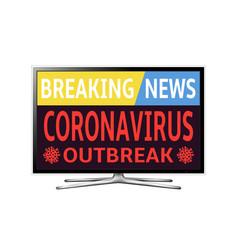 Smart tv with coronavirus covid-19 outbreak news vector
