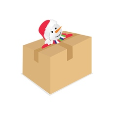 snowman with paper box Christmas art vector image vector image