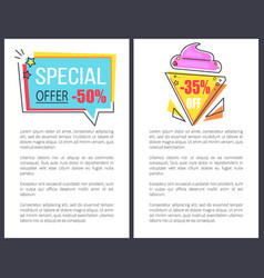 special offer with 35 off promotional posters vector image
