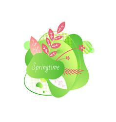 springtime floral decoration on banner with flora vector image