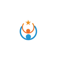 Star logo success people template icon vector