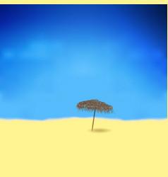tropical beach with bamboo umbrella vector image