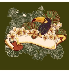 Tropical Exotic Floral Card with Toucan vector