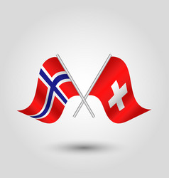 Two crossed norwegian and swiss flags vector