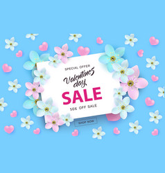 valentines day sale banner with sign on white card vector image
