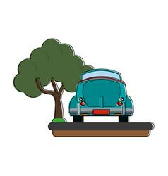 vintage car backview vector image