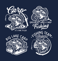 Vintage largemouth bass fish fishing logos vector
