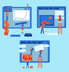 Web development concept set with people building vector
