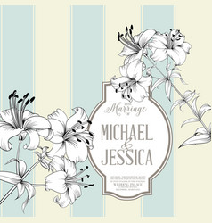 wedding card with lily flowers invitation card vector image