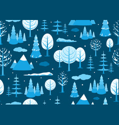winter landscape seamless background in minimal vector image