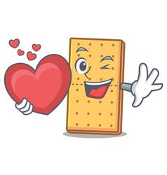 With heart graham cookies mascot cartoon vector
