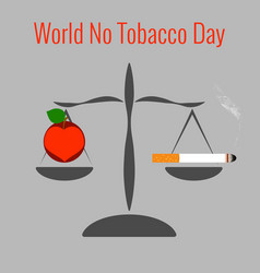 world no tobacco day libra on one side is a vector image